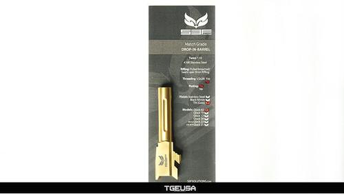S3FSolutions Glock 43 Match Grade Barrel - Ti Nitride (GOLD) Fluted