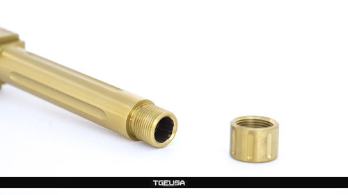 S3FSolutions Glock 19 Match Grade Barrel - Ti Nitride (GOLD) / FLUTED + Threaded