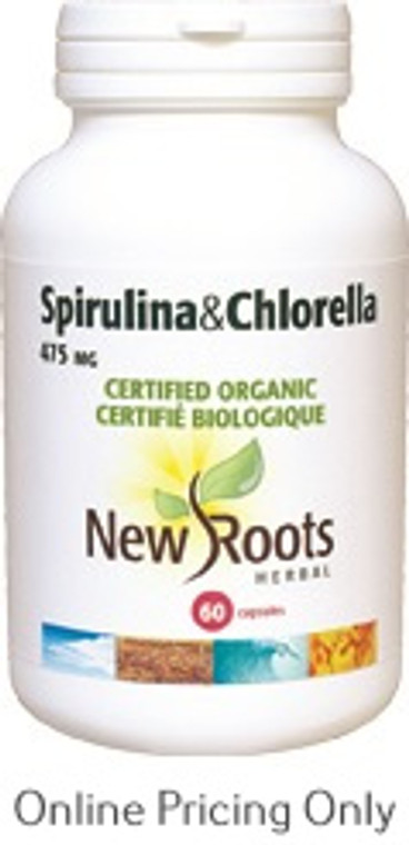 New Roots Spirulina and Chlorella Certified Organic 60caps