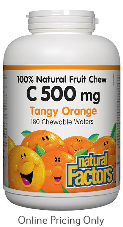 Natural Factors Natural Fruit Chew C 500mg Tangy Orange 180chews