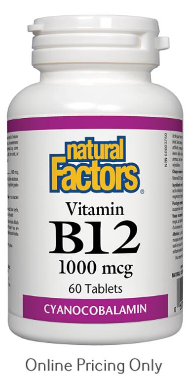 Natural Factors Vitamin B12 Cyanocobalamin 1000mcg 60tabs