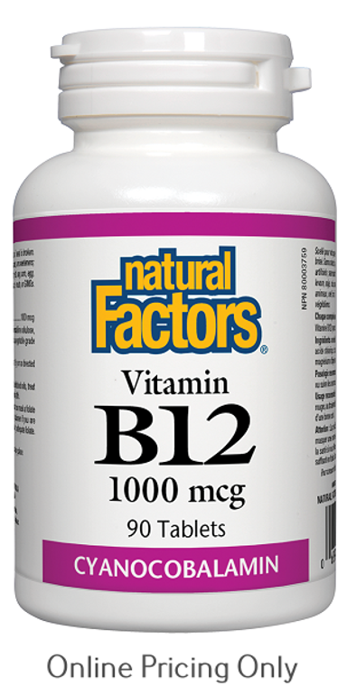 Natural Factors Vitamin B12 Cyanocobalamin 1000mcg 90tabs