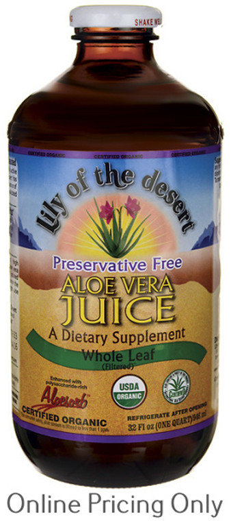 Lily of the Desert Aloe Whole Leaf Juice Preservative Free 946ml