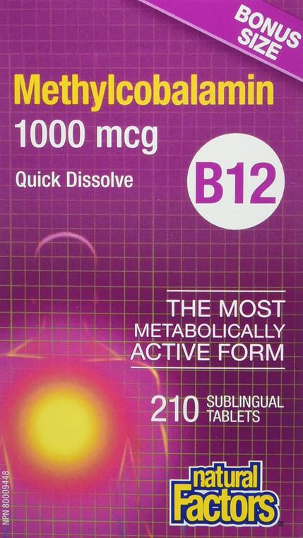 Natural Factors B12 Methylcobalamin 1000mcg 210subtabs