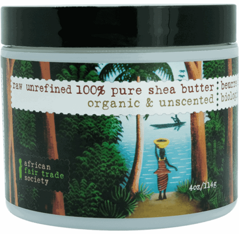 African Fair Trade Society Raw Unrefined 100% Pure Shea Butter Organic & Unscented 114g