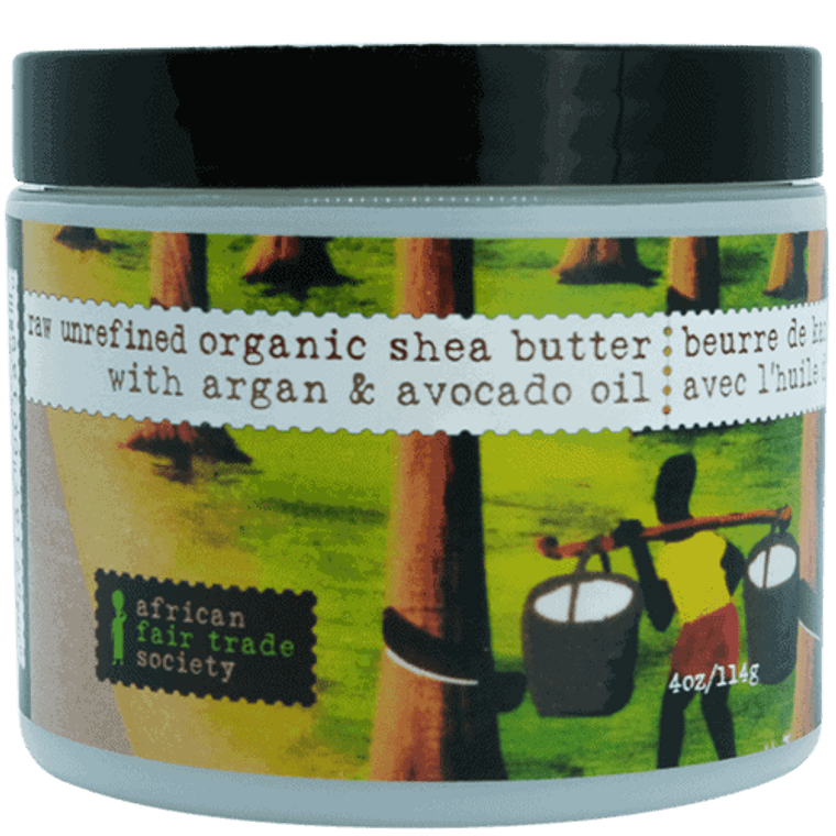 African Fair Trade Society Raw Unrefined Organic Shea Butter with Argan & Avocado Oil