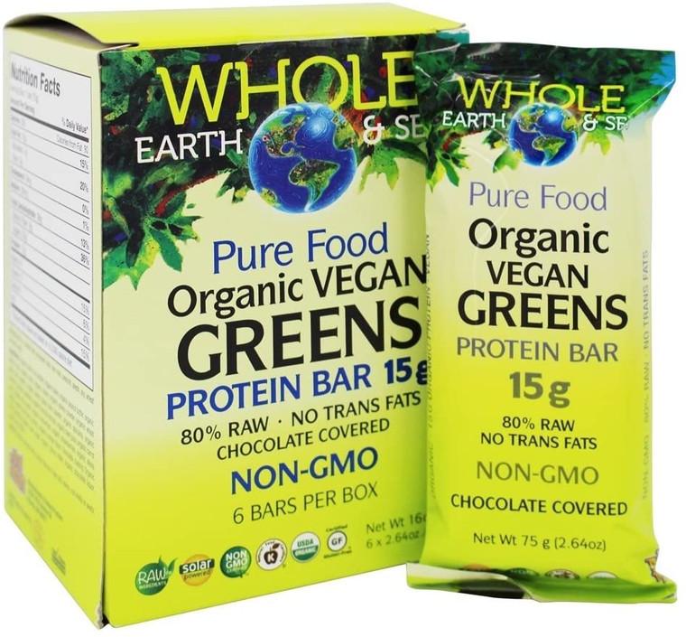 Whole Earth & Sea Pure Food Organic Vegan Greens Protein Bar 6 x 75g