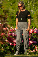 Designer Autumn Teneyl wearing jogger pants with pockets