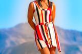 Fashion Designer Autumn Warner wearing a pockets mini dress