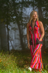 Fashion Designer Autumn Teneyl wearing a boho style one piece suit for women
