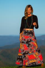 Saturn Skirt in Aqua Paisley