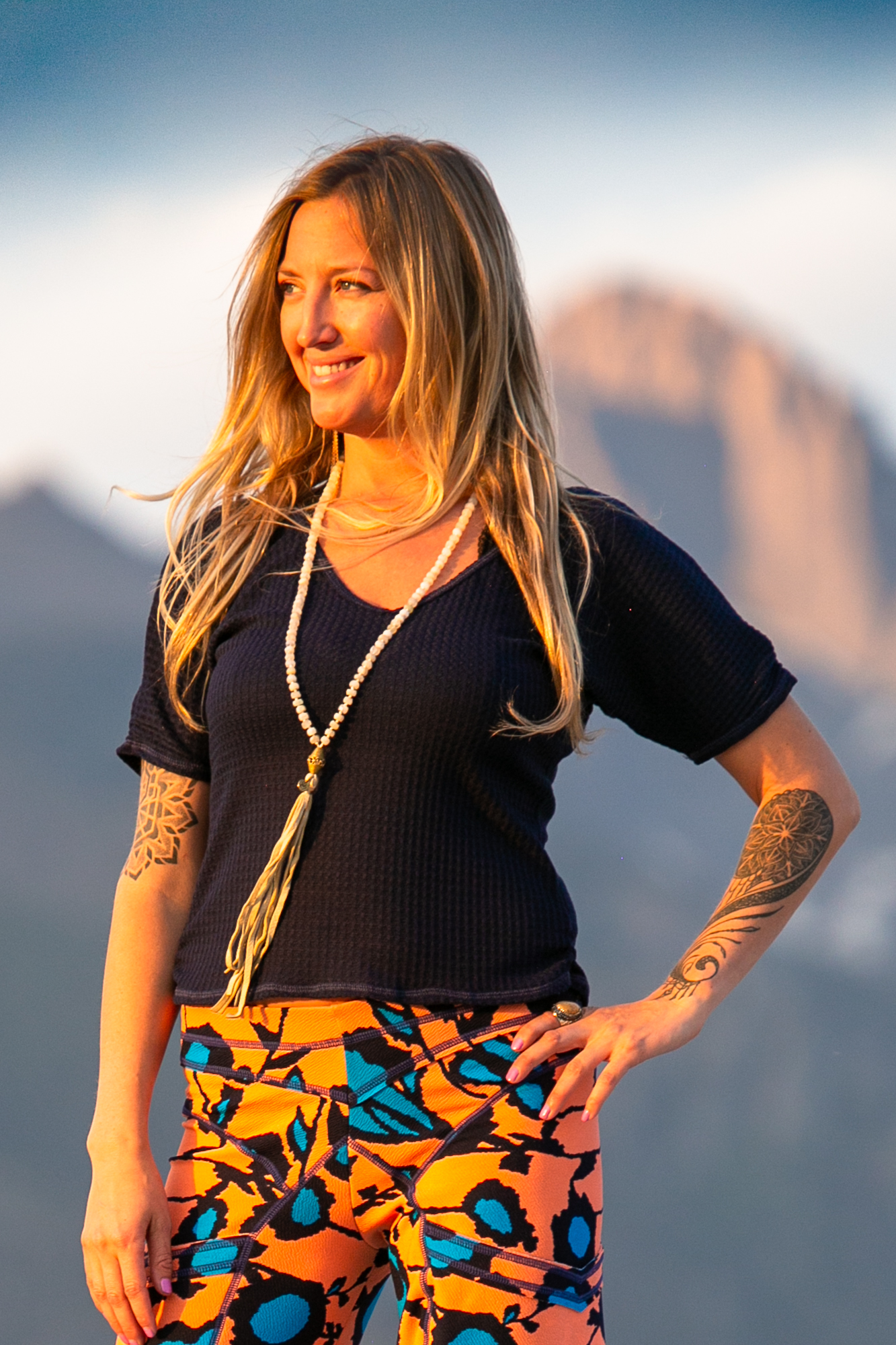 Sunset Top in Navy Waffle