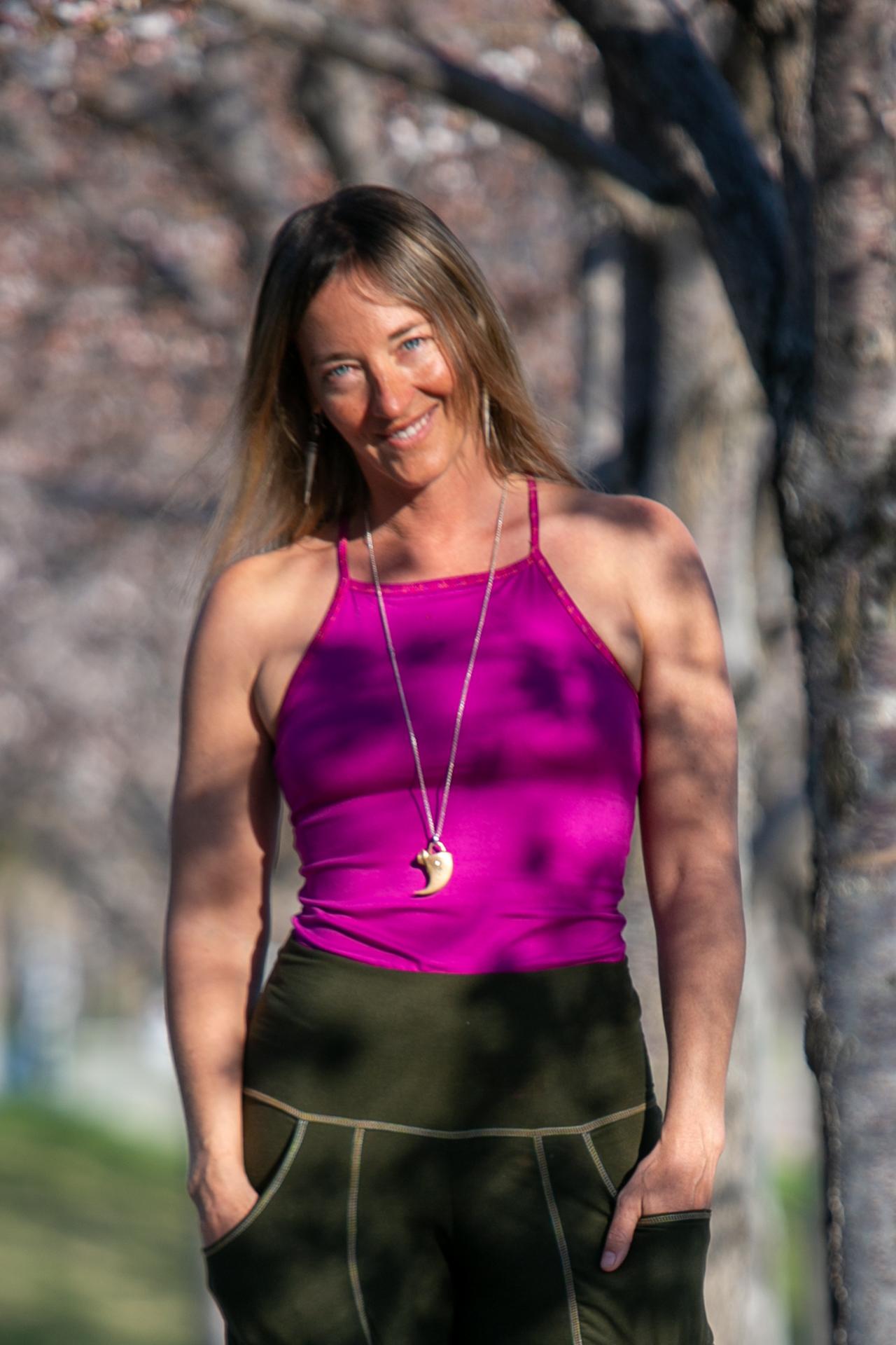 Fashion designer Autumn Warner wearing a tank top outside in Utah