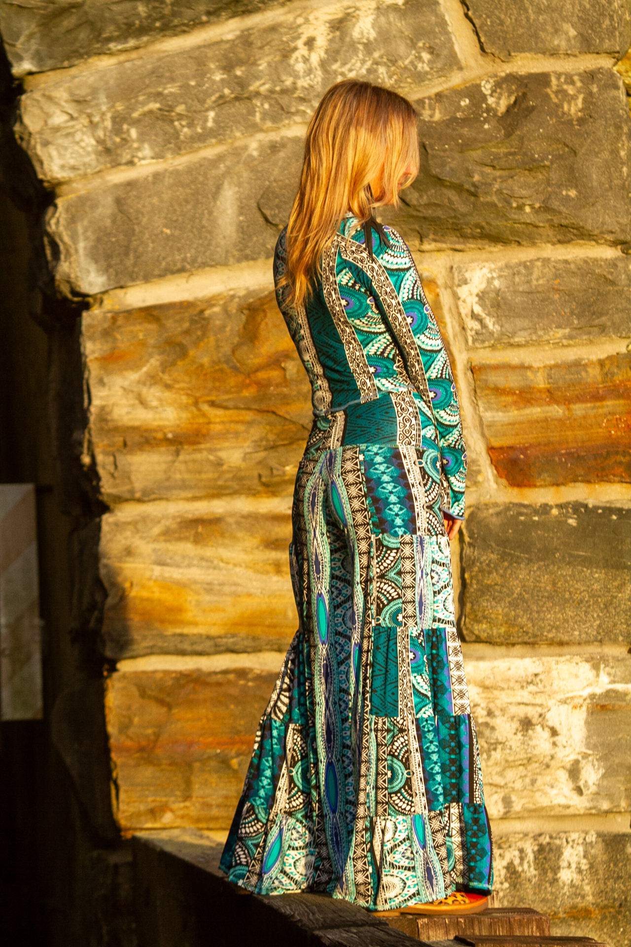 Fashion Design Autumn Teneyl wearing a boho style look by Autumn Teneyl Designs featuring a Wide legged pant with a long sleeved  top For women.