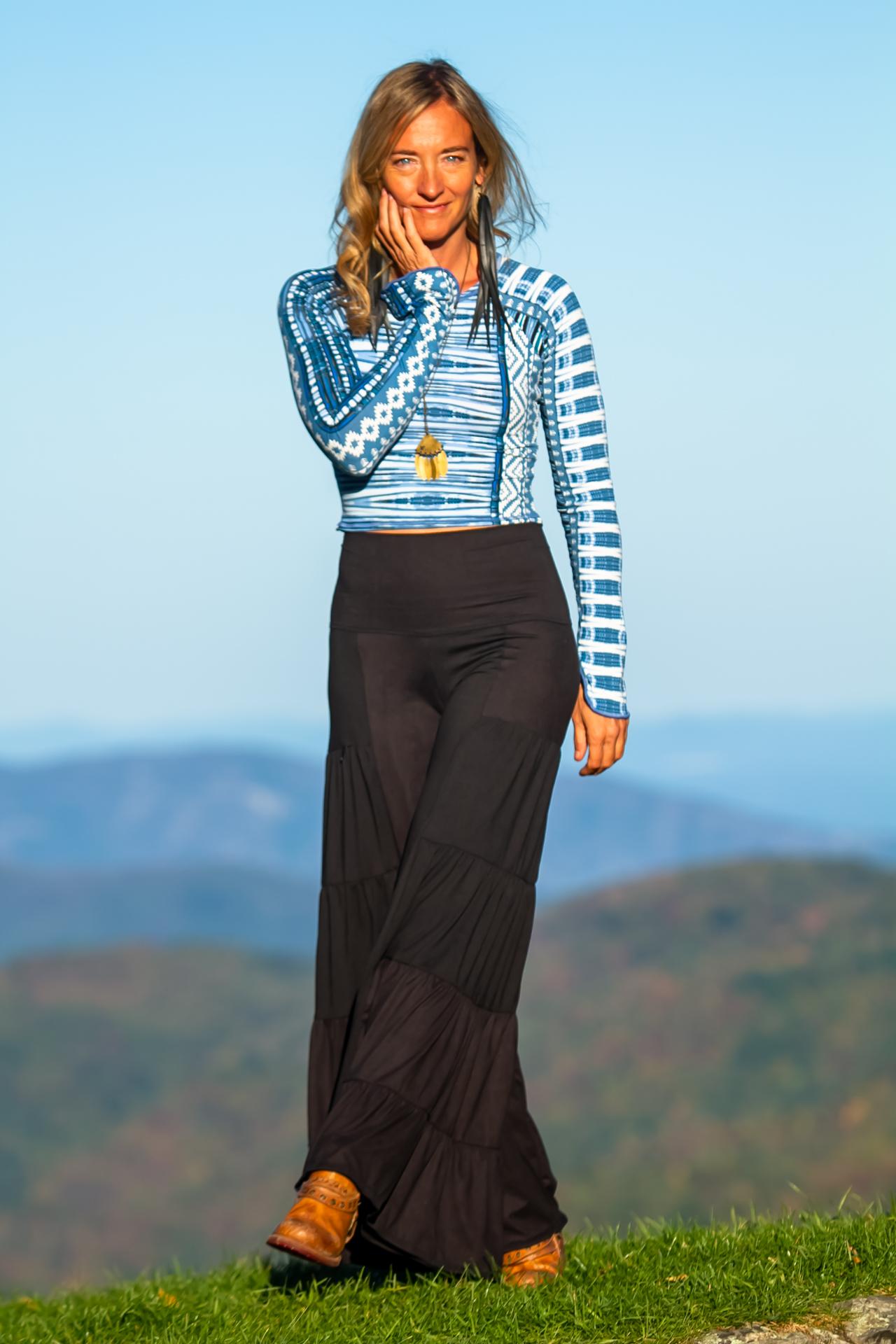Fashion Design Autumn Teneyl wearing a boho style look by Autumn Teneyl Designs featuring a Wide legged black pant with a crop top.