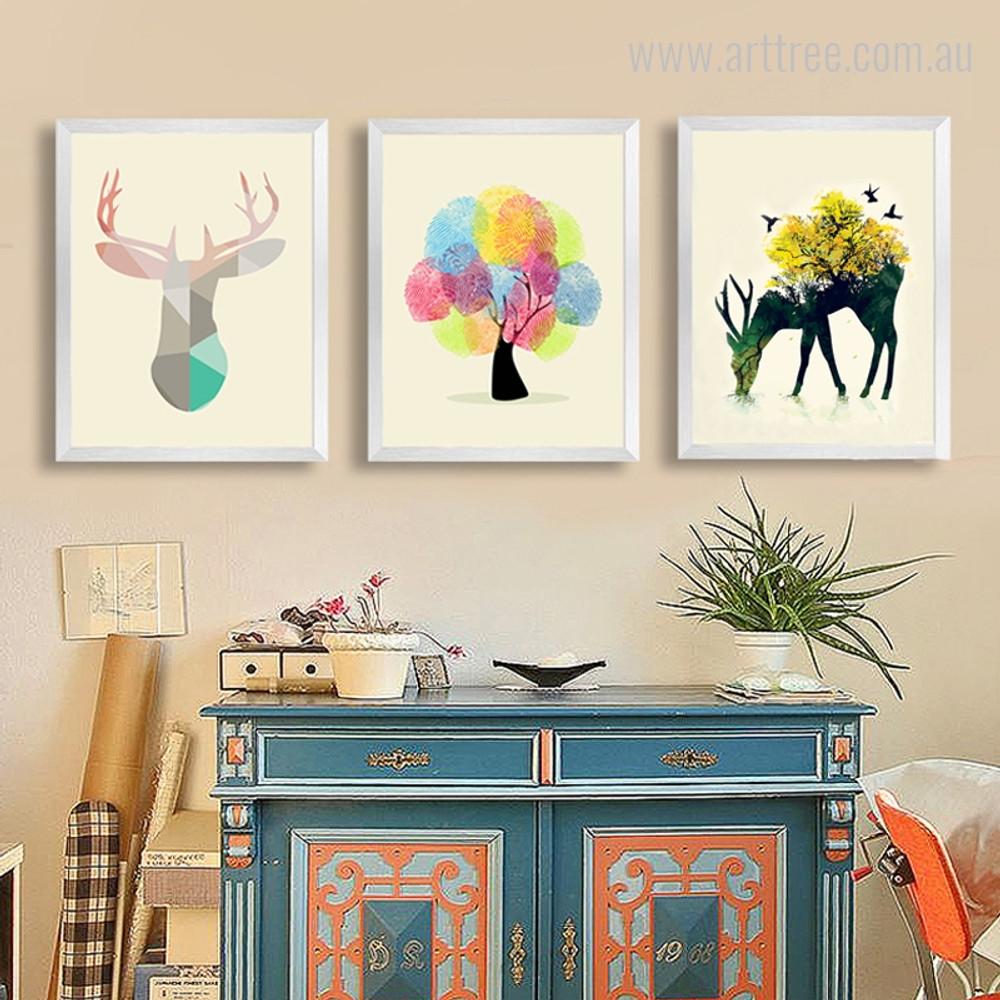 Deer Face, Abstract Tree, Reindeer