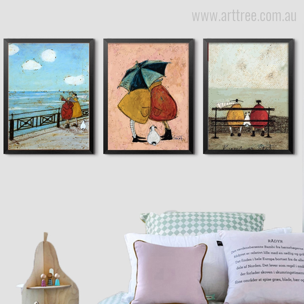 Abstract Happy Family Vintage Poster Print