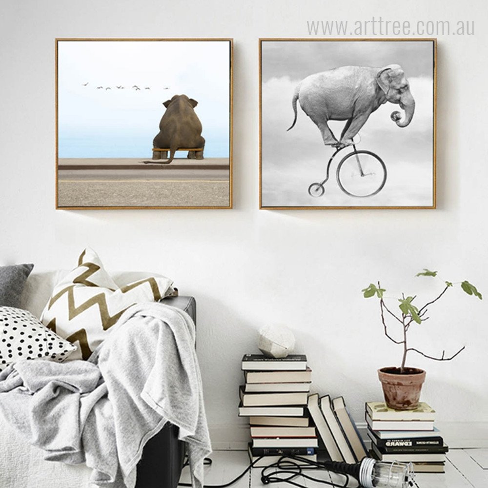 Seated and Cycling Elephant Animal Deign Art