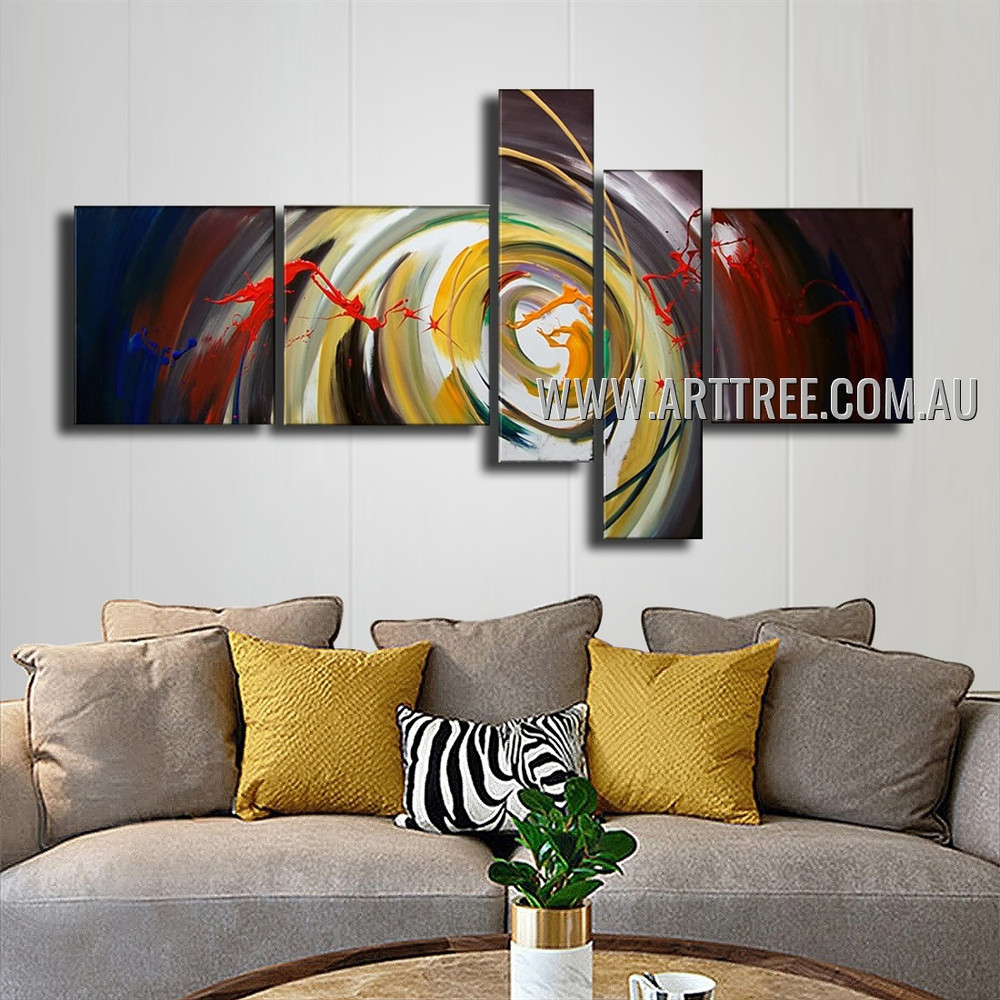 Colorful Swirl Abstract Modern Handmade Artist 5 Piece Split Canvas Paintings Wall Art Set For Room Drape