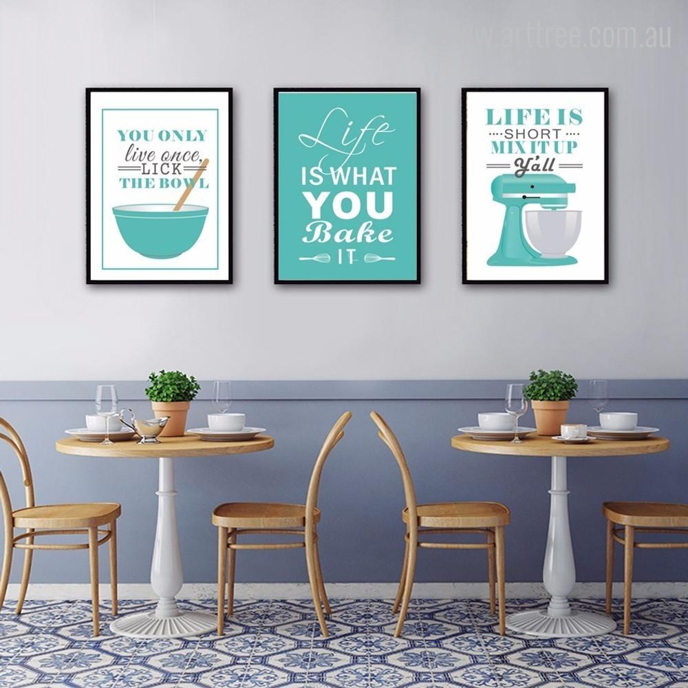 Green Baking Life Quotes Kitchen Wall Decor