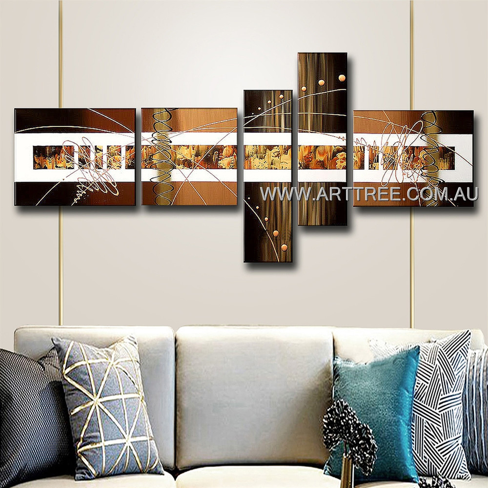 Brown Textured White Stripe Abstract Modern 5 Piece Split Complementary Painting Wall Art Set Room Trimming
