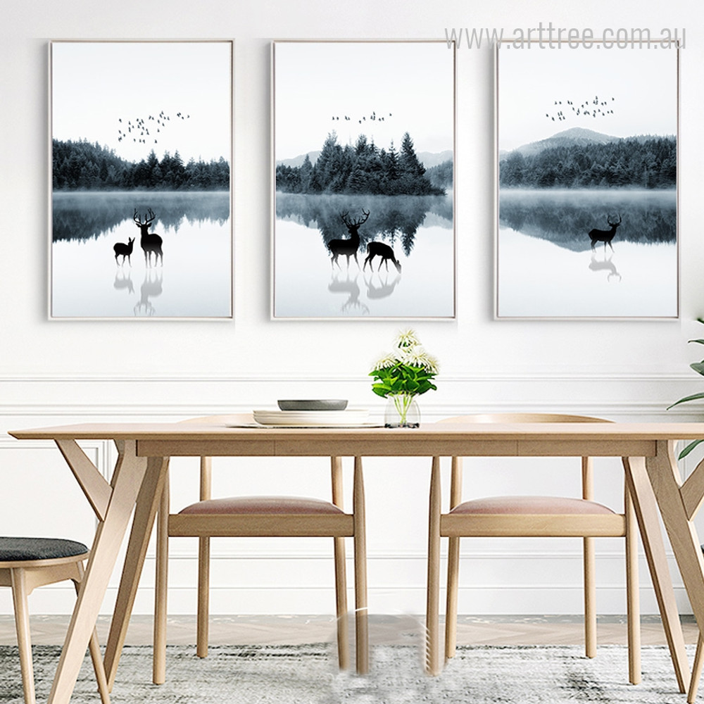 Deer and Fawn Animal in Forest Design Wall Art