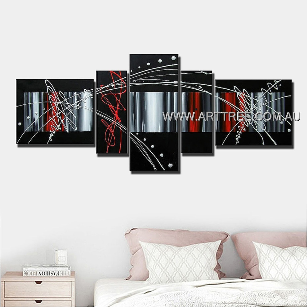 Black White Red Grey Blend Abstract Modern 5 Piece Multi Panel Canvas Oil Painting Wall Art Set For Room Wall Ornament