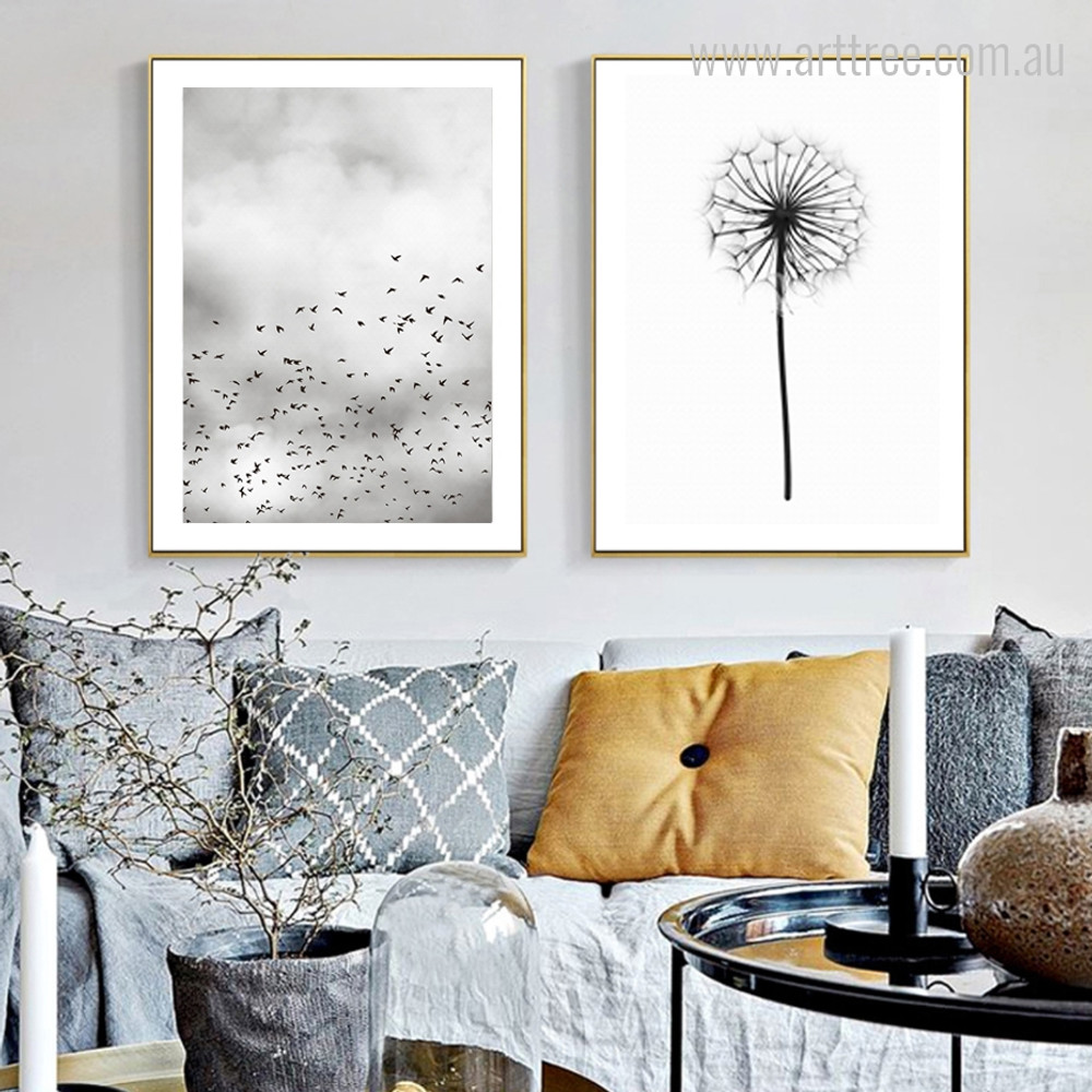 Minimal Flying Birds, Abstract Queen Anne's Lace floral