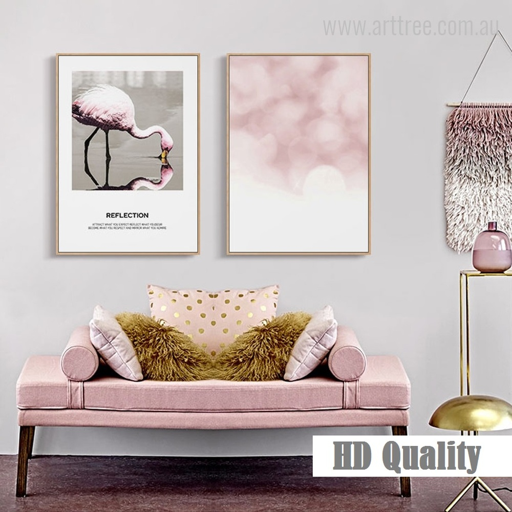 Flamingo Bird Reflection Quote, Texture Wall Art