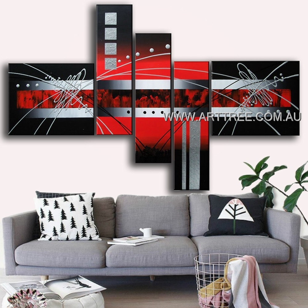 Dark Grey Red Rectangle Abstract Modern 5 Piece Multi Panel Wall Art Paintings Set For Room Wall Outfit