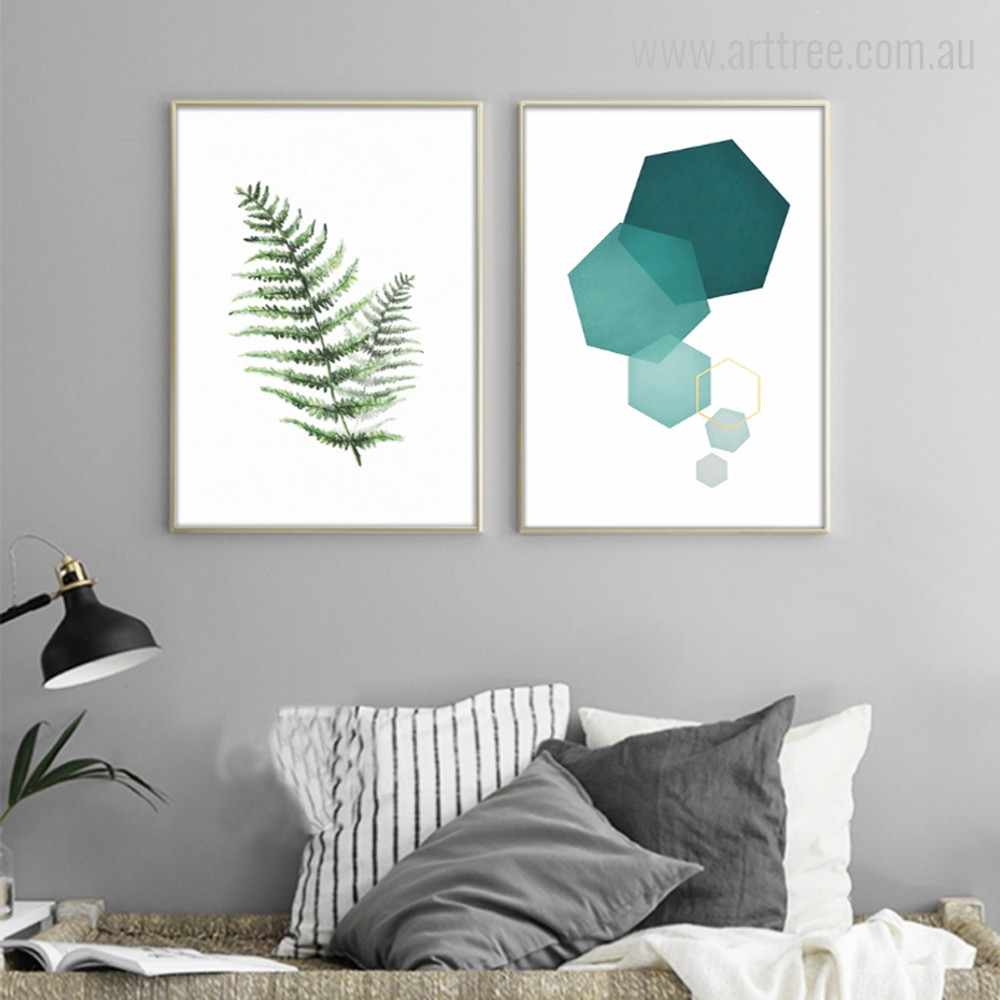 Celandine Plant Leaf, Hexagon Geometric Shape Design