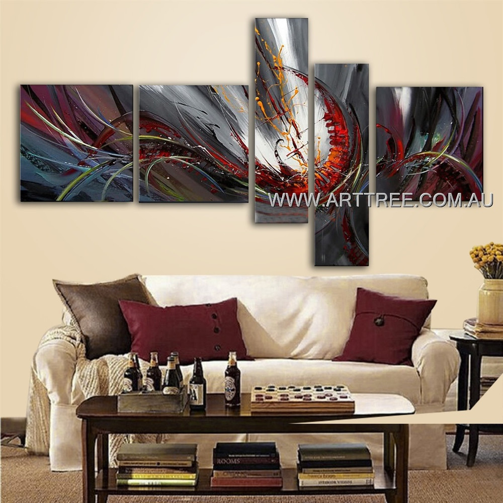 Colorful Cyclone Design Abstract Modern Handmade Artist 5 Piece Split Canvas Painting Wall Art Set For Room Getup