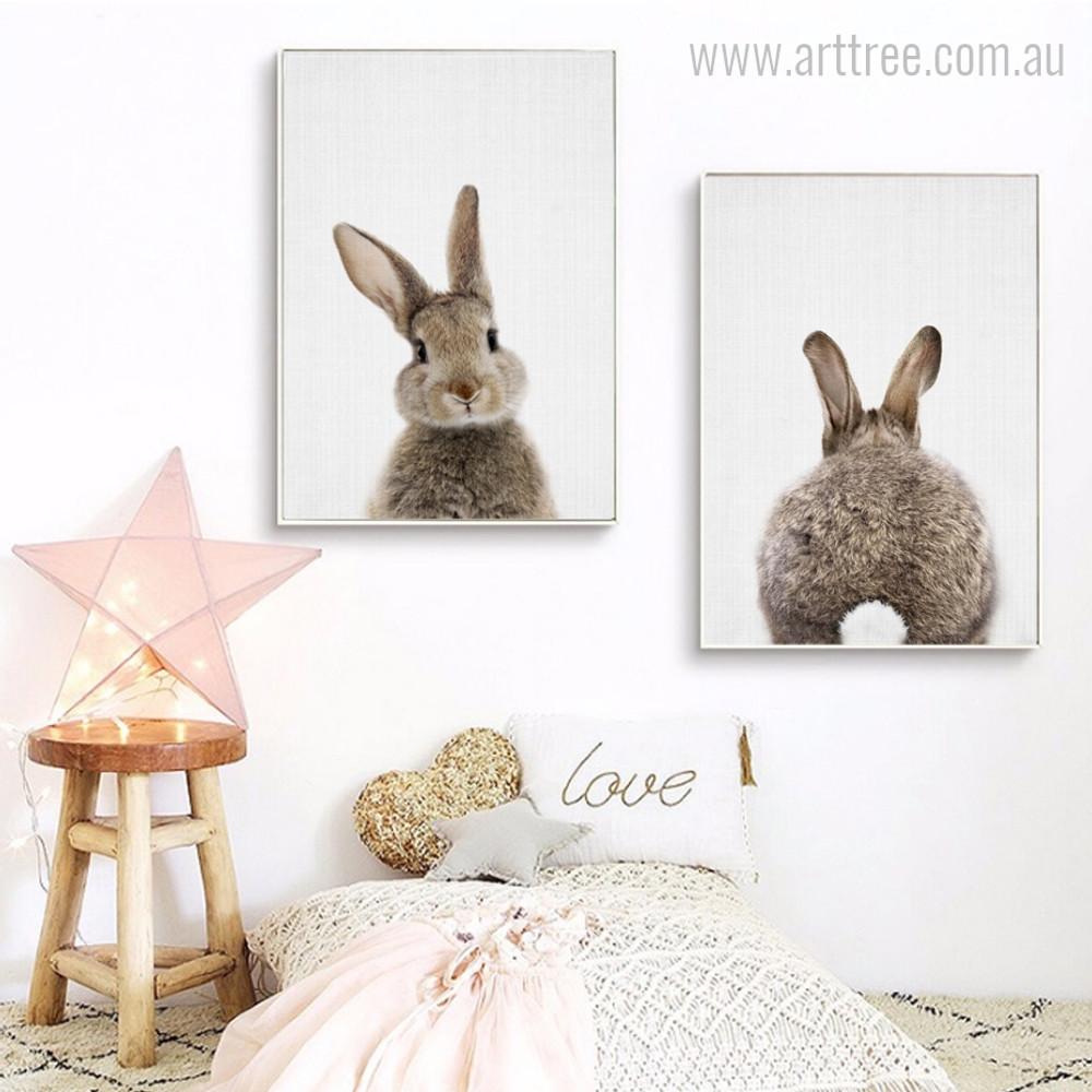 Brown Rabbit Animal Cute Wall Art