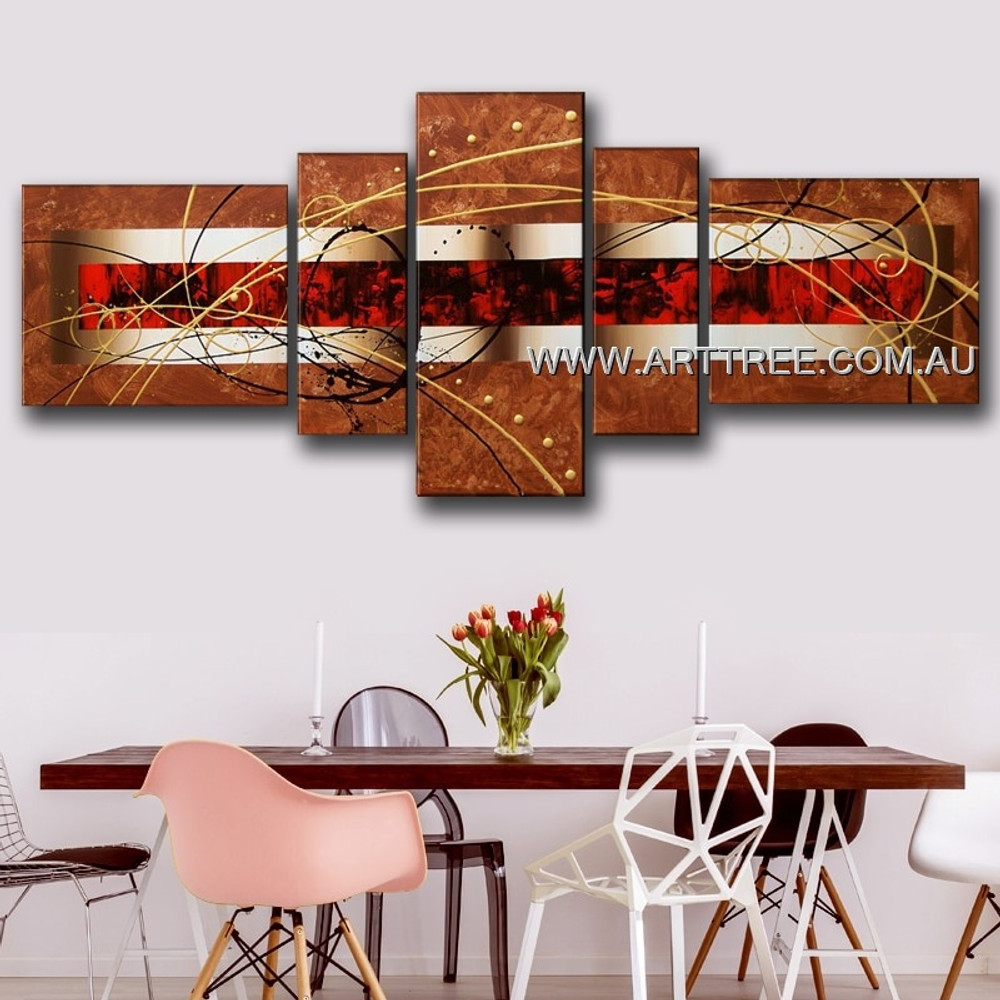 Brown Red Centered Abstract Modern 5 Piece Split Canvas Painting Wall Art Set For Room Wall Finery