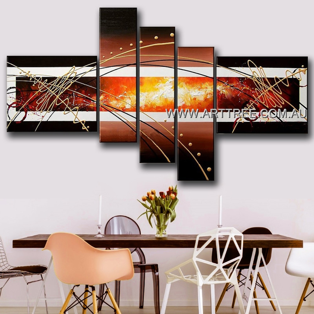 Burning Center Abstract Modern Handmade Artist 5 Piece Split Complementary Painting Wall Art Set For Room Moulding