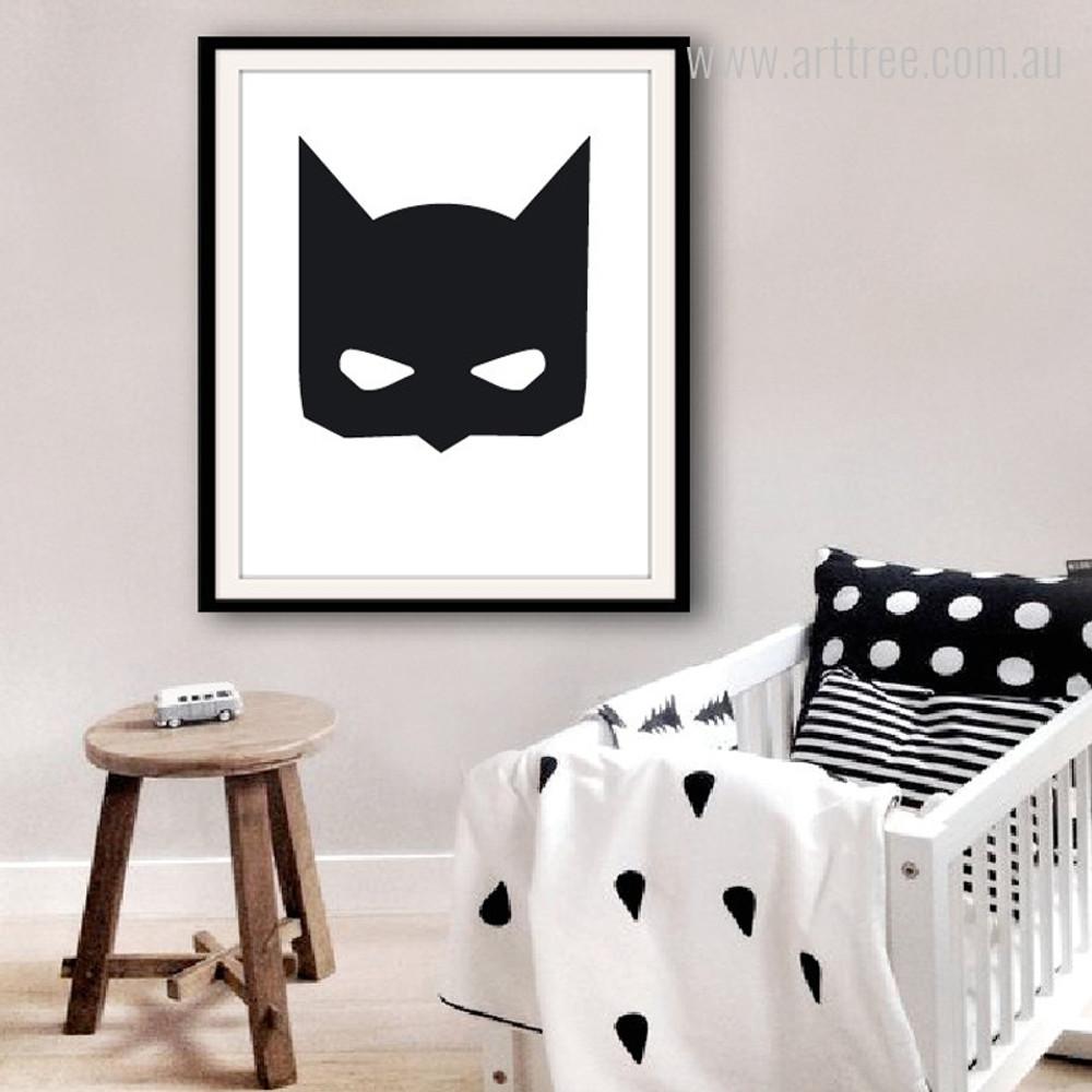 Super Hero Batman Mask Cartoon Black and White Wall Art Decor