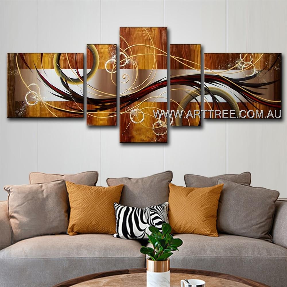 Geometric Circle & Streaks Abstract Modern 5 Piece Split Panel Painting Wall Art Set For Room Garnish