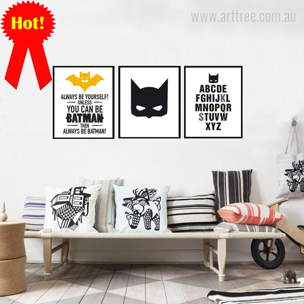 Always Be Yourself Batman, Mask, ABCD Words Quote Print