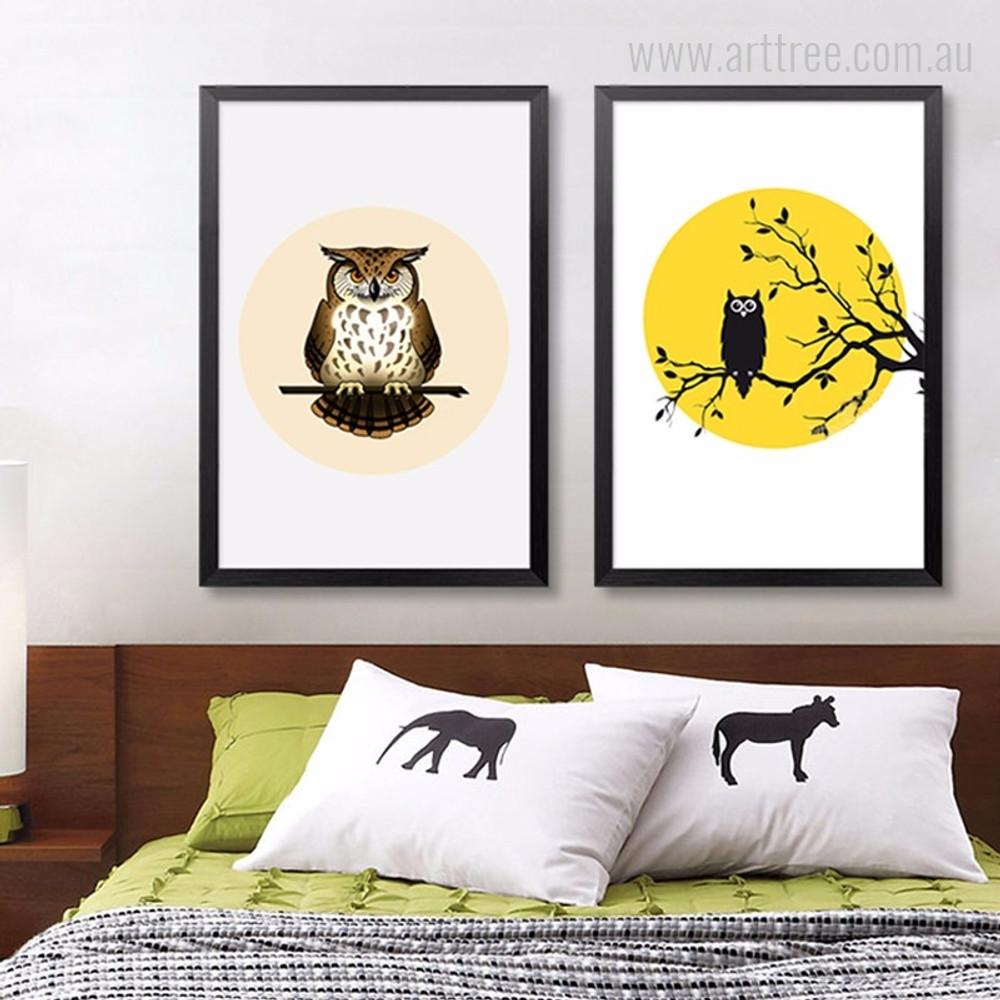 Animated Cute Owl on Branch Children's Art