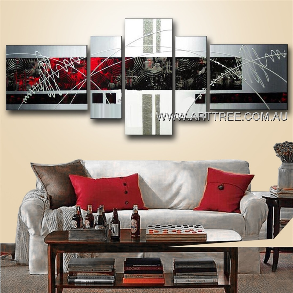 Red & Black Textured Abstract Modern 5 Piece Multi Panel Canvas Painting Wall Art Set For Room Outfit