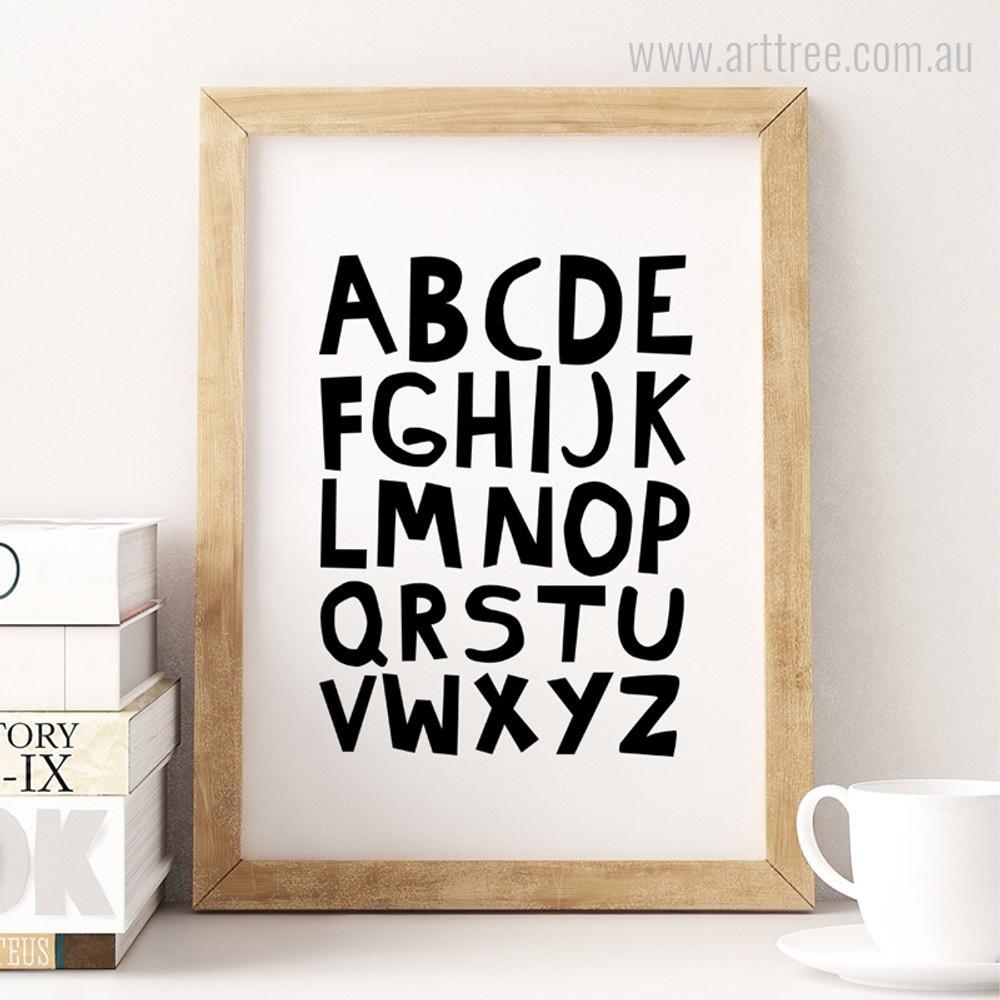 ABC Alphabets Black and White Kids Baby Boy Art