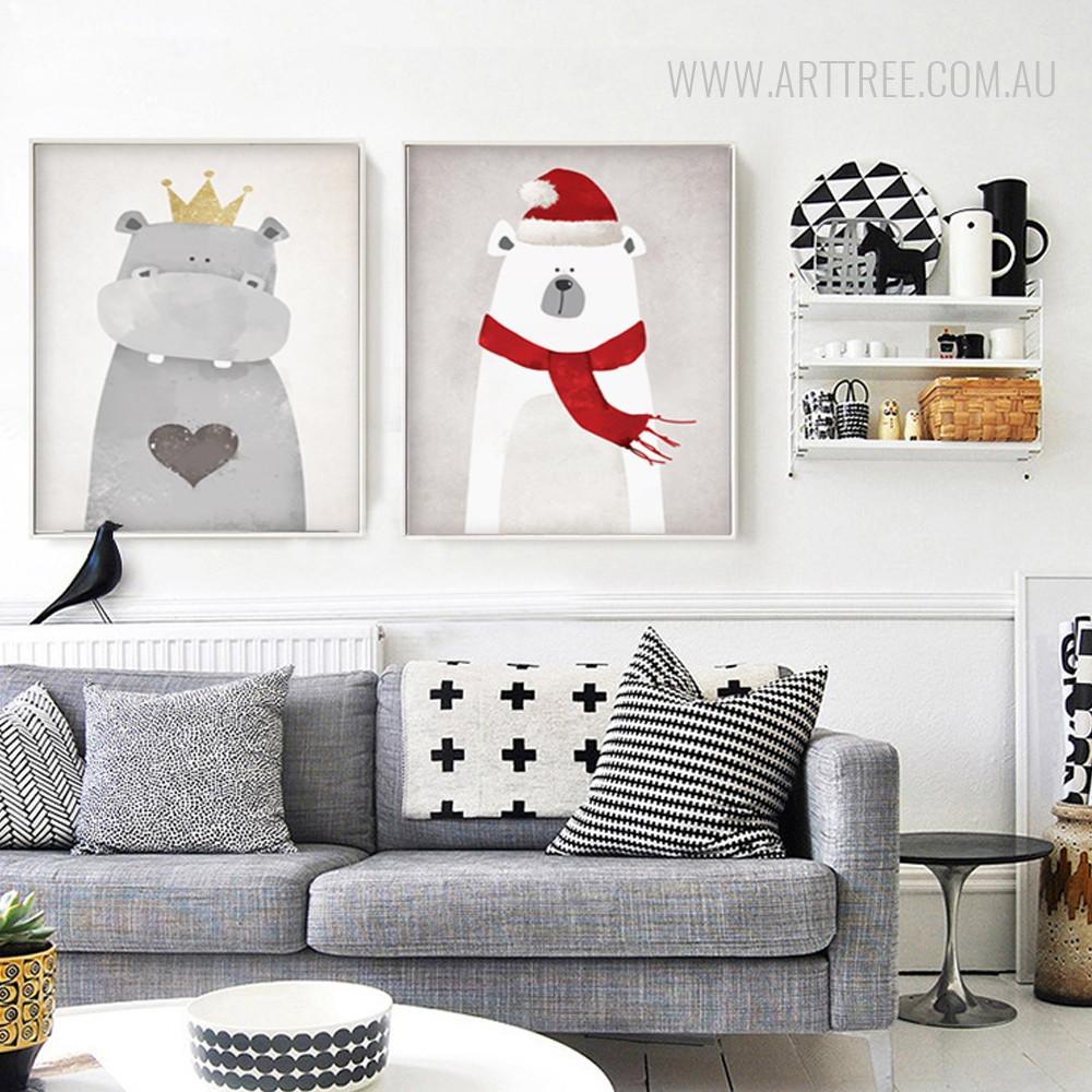 Christmas Mood Polar Bear, King Hippopotamus Kawaii Animal Art