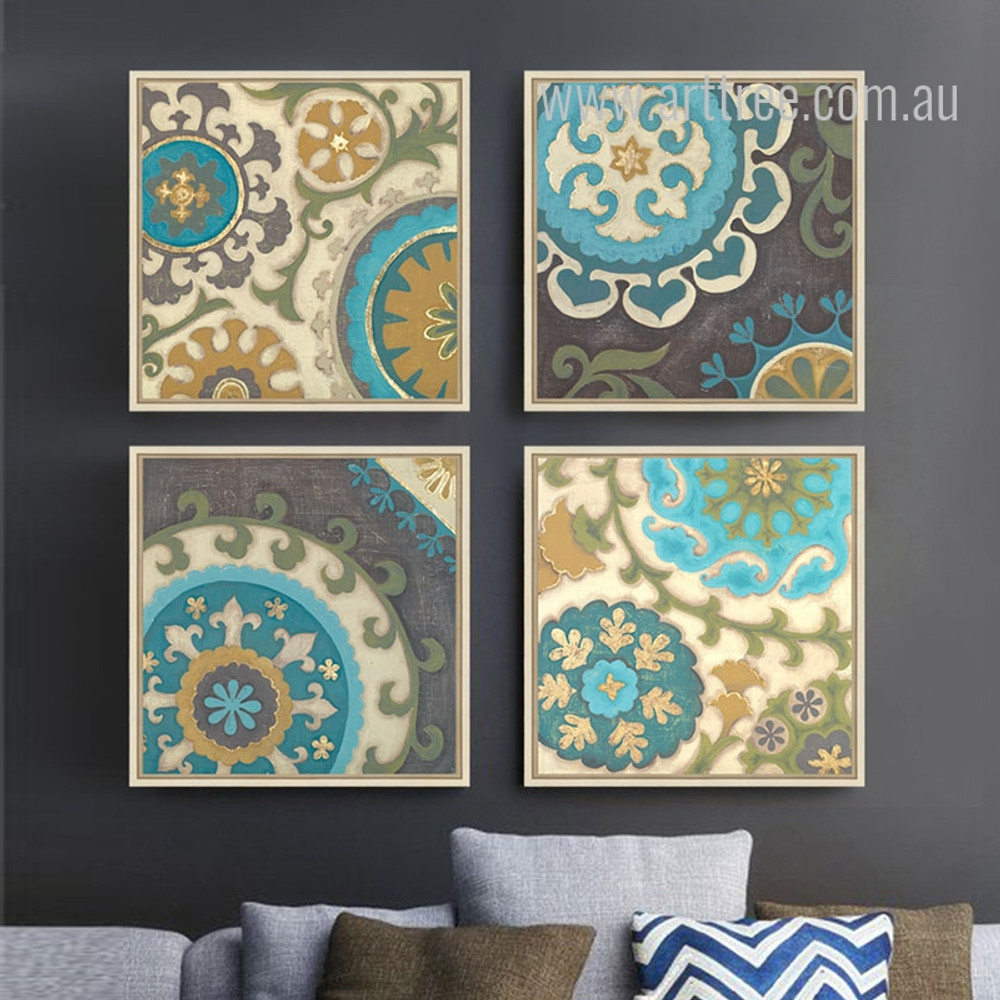 Retro Moroccan Style 4 Piece canvas Art