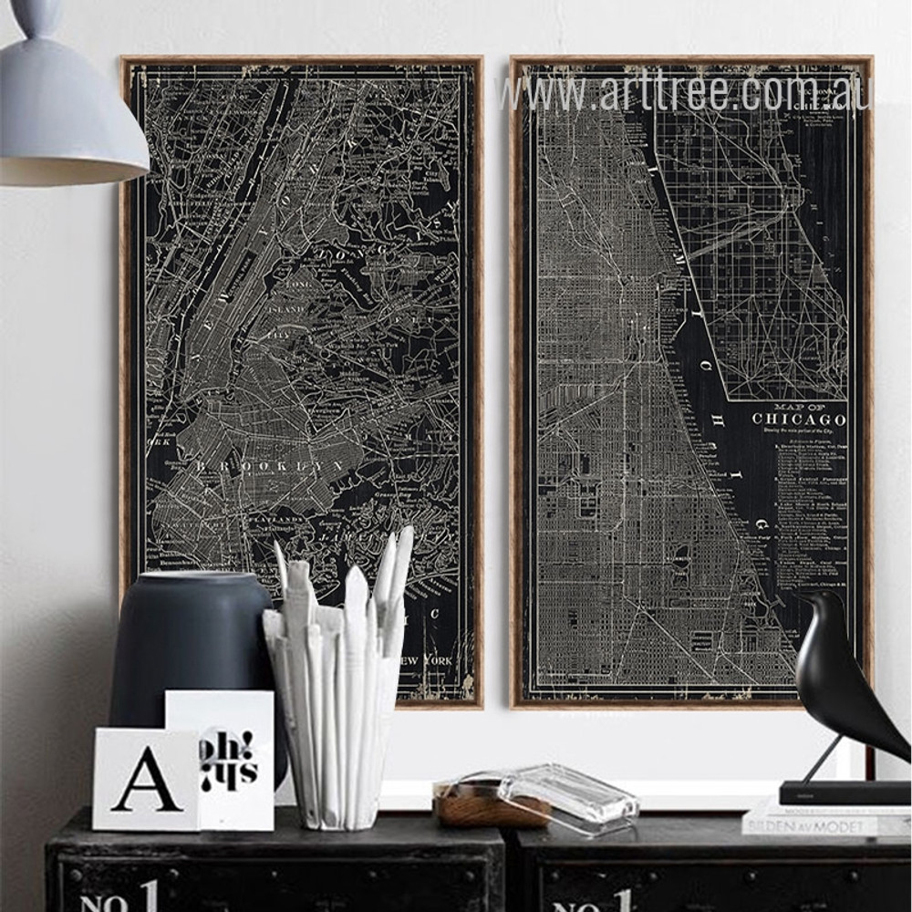 Black and White New York Chicago City Map Oversized Canvas Art
