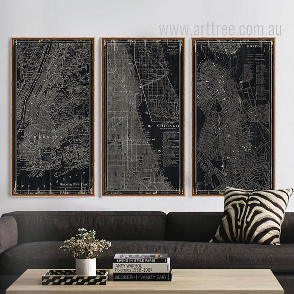 Black and White New York, Chicago, Boston City Map Oversized Canvas Art