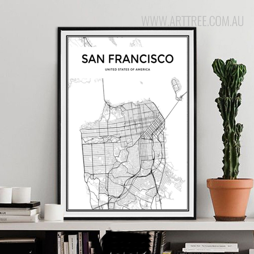 United States of America San Francisco City Map Canvas Print