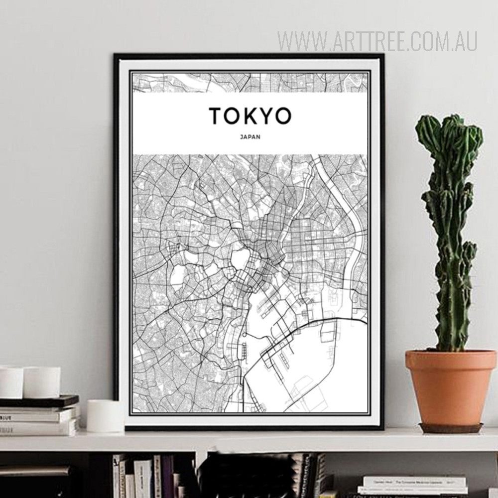 Tokyo Japan City Map Black and White Canvas Print