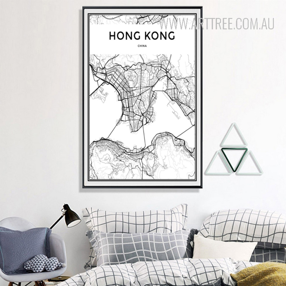Hong Kong China City Map Art