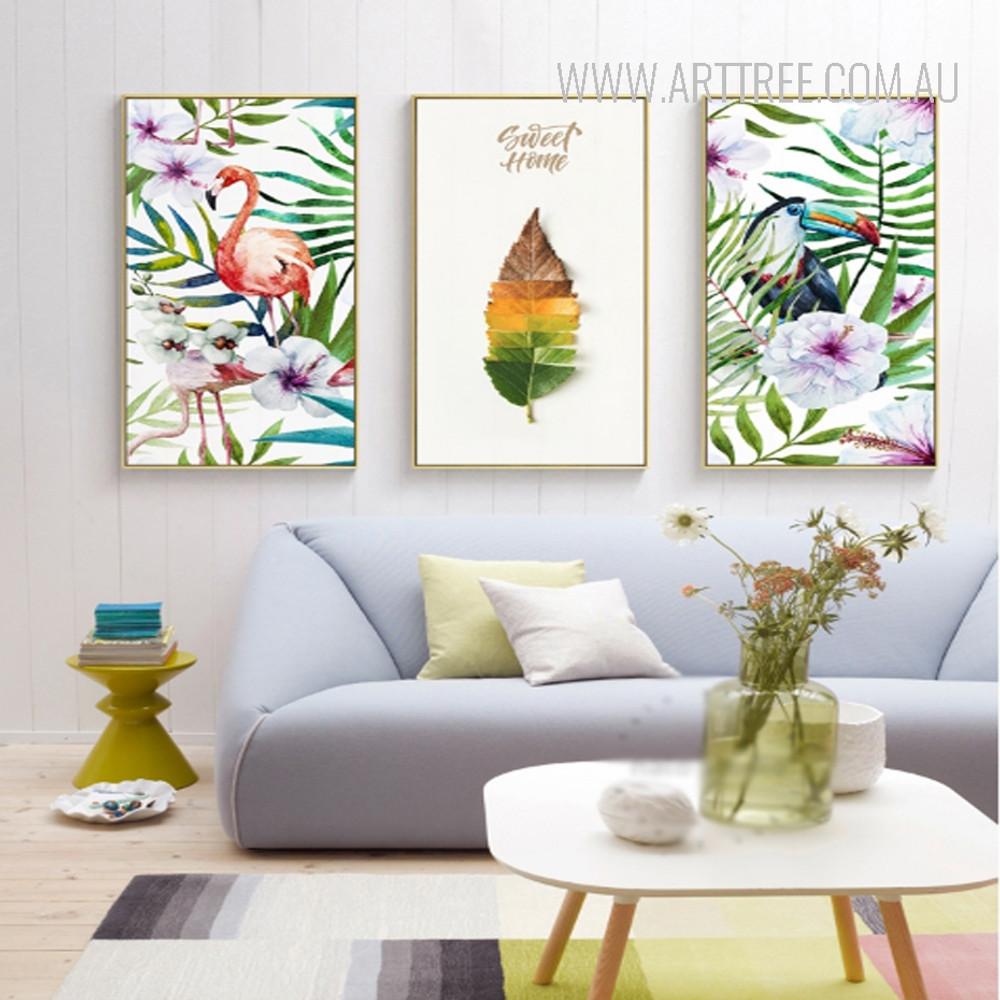 Flamingo Bird Sweet Home Leaf Art