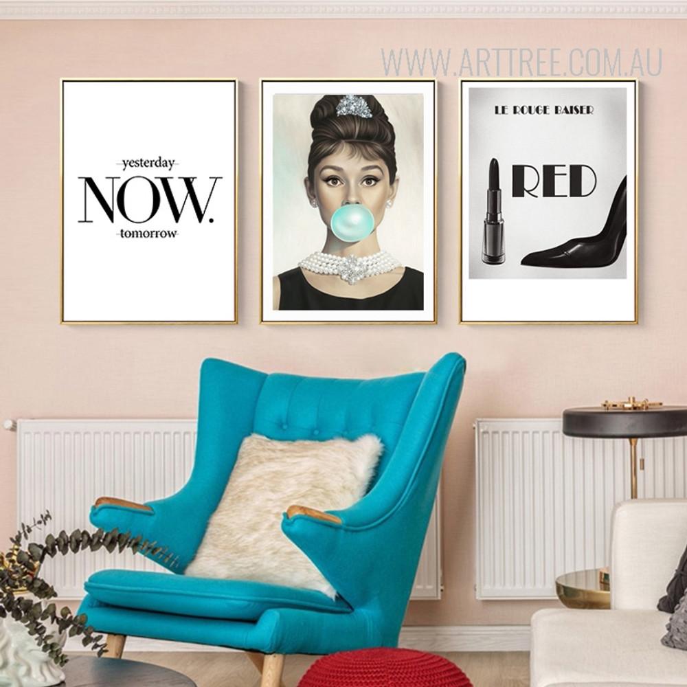 Yesterday Now Tomorrow British Actress Audrey Hepburn Le Rouge Baiser Art